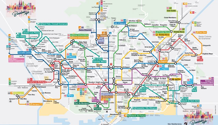 Métro de Barcelone map carte