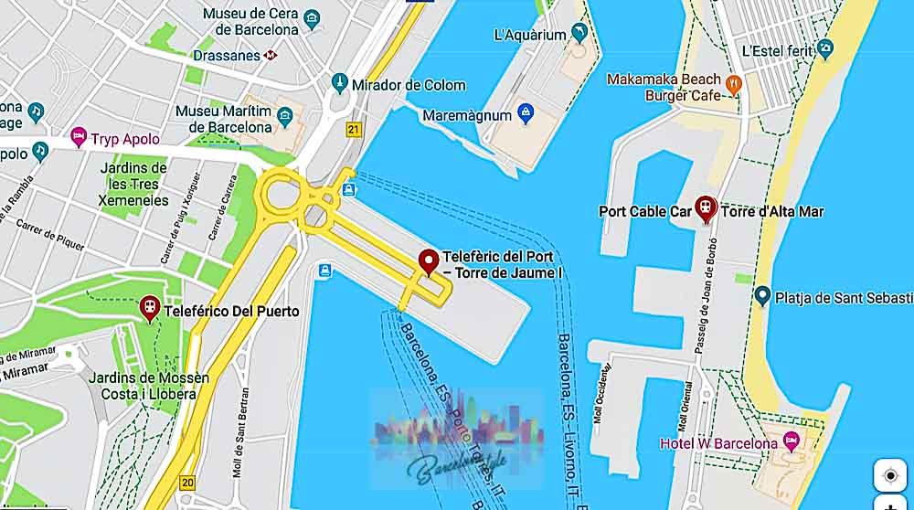 Plan d'accès au téléphérique du port de Barcelone